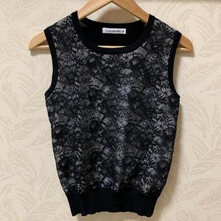 エムプルミエ(M-premier)の美品 M-PREMIER BLACK レース ノースリーブ(シャツ/ブラウス(半袖/袖なし))