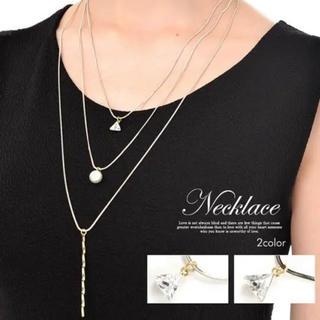 デイジーストア(dazzy store)の3連ゴールドチェーンネックレス(ネックレス)