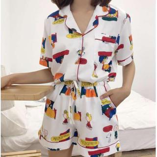 ★白L♡新品♡ 即売れ パジャマ♪ レディース 半袖 短パン 部屋着(ルームウェア)