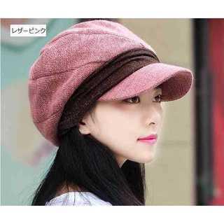 レザーピンク 小顔効果 防寒 キャスケット 帽子 レディース 女性 フェミニン(ハンチング/ベレー帽)