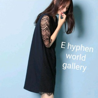 E hyphen world gallery - E hyphen world galleryレース異素材ワンピース