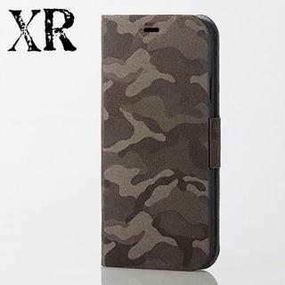 エレコム(ELECOM)のiPhone XR ケース 手帳型 カモフラ グリーン ファブリック カバーUS(iPhoneケース)