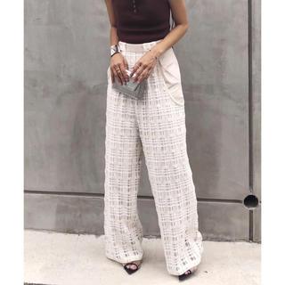アメリヴィンテージ(Ameri VINTAGE)の新品 AMERI SHEER CHECK LAYERED PANTS ホワイト(カジュアルパンツ)