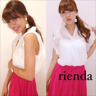 rienda - rienda フリル シフォン ノースリ トップス ブラウス♡RESEXXY