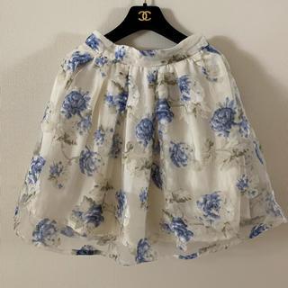 イング(INGNI)のイング シフォン 花柄スカート ブルー(ひざ丈スカート)