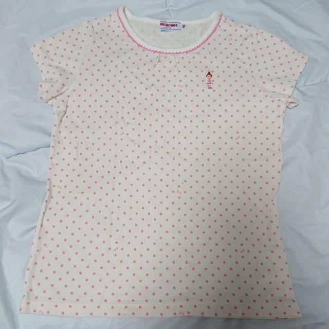 mikihouse(ミキハウス)のミキハウス リーナちゃんドット半袖Tシャツ 110 キッズ/ベビー/マタニティのキッズ服女の子用(90cm~)(Tシャツ/カットソー)の商品写真