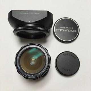ペンタックス(PENTAX)の美品 TAKUMAR 28mm F3.5 前後CAP 角型フード付 タクマー(レンズ(単焦点))