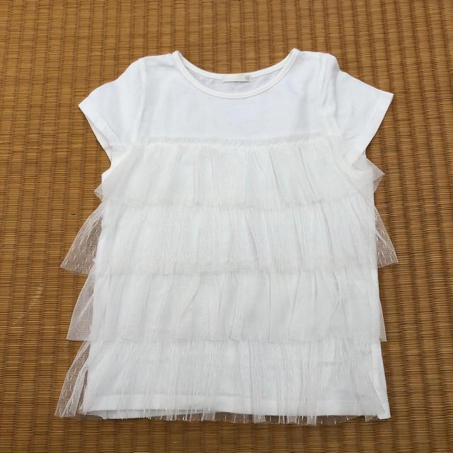 GU(ジーユー)のGU チュールTシャツ 120 キッズ/ベビー/マタニティのキッズ服女の子用(90cm~)(Tシャツ/カットソー)の商品写真