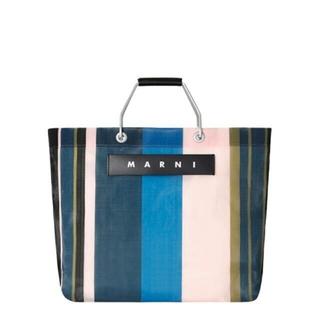 マルニ(Marni)の【MARNI】 マルニ フラワーカフェ ストライプバッグ ナイトブルー(トートバッグ)
