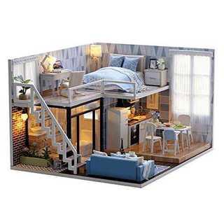 DIY木製おもちゃハウス、手作りミニキットセット・二面タイプ、LEDライト(模型/プラモデル)