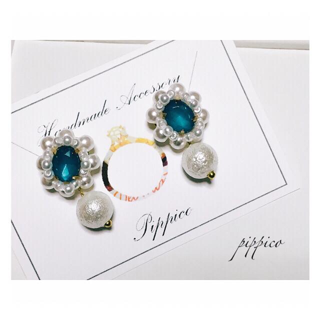 ☆SALE 春色ビジューピアス(ブルー) ハンドメイドのアクセサリー(イヤリング)の商品写真