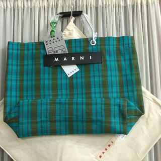 マルニ(Marni)の新品  マルニMARNI フラワーカフェトートストライプ バッグ ターコイズ(トートバッグ)