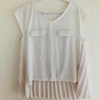 異素材 Tシャツ トップス カットソー シアー 白(Tシャツ(半袖/袖なし))