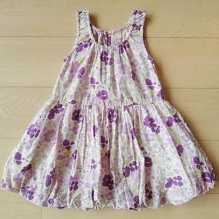 petit main - プティマイン 110センチ 女の子 ワンピース ナルミア 紫 花柄 petit