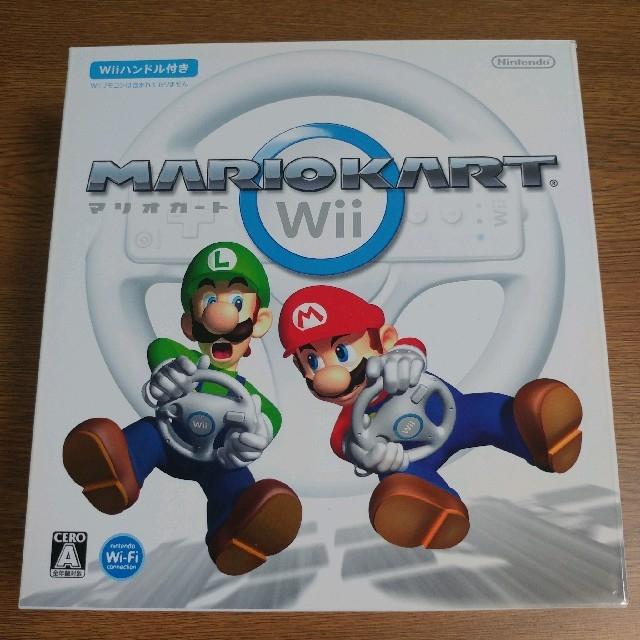 Wii(ウィー)の任天堂 マリオカートWii ハンドルセット(箱・取説付き) エンタメ/ホビーのゲームソフト/ゲーム機本体(家庭用ゲームソフト)の商品写真