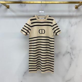クリスチャンディオール(Christian Dior)のDIOR 夏ウール半袖 ニットワンピース (ひざ丈ワンピース)