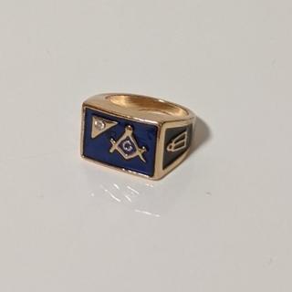 フリーメイソン ブルー&ゴールド  メンズ リング(リング(指輪))