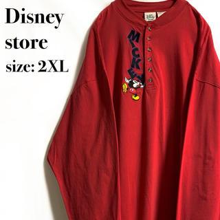 ディズニー(Disney)のDisney ディズニーストア ミッキー ボタン ロンT 赤 レッド(Tシャツ/カットソー(七分/長袖))
