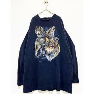 ヨウジヤマモト(Yohji Yamamoto)のvintage 90s ウルフ 狼 アニマル サーマル カットソー ロンティー(Tシャツ/カットソー(七分/長袖))