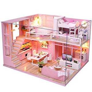 CuteBee DIY木製ドールハウス、メゾネットタイプ、手作りキットセット、ミ(模型/プラモデル)