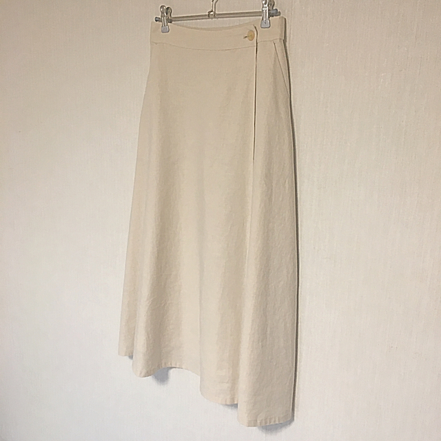 IENA SLOBE(イエナスローブ)のIENA SLOBE◆リネン混ロング巻風スカート☆アイボリー 36 レディースのスカート(ロングスカート)の商品写真