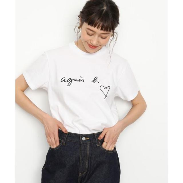 agnes b.(アニエスベー)のagnes b 新品ロゴハート半袖Tシャツ ホワイト 3 レディースのトップス(Tシャツ(半袖/袖なし))の商品写真