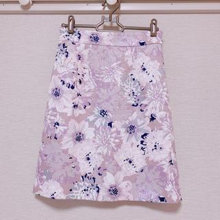 PROPORTION BODY DRESSING - PBD 膝丈タイトスカート フラワー ピンク×ラベンダー系 Sサイズ