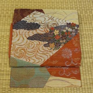 夏帯 渋めの柿色に金銀糸で古典柄 名古屋帯(帯)