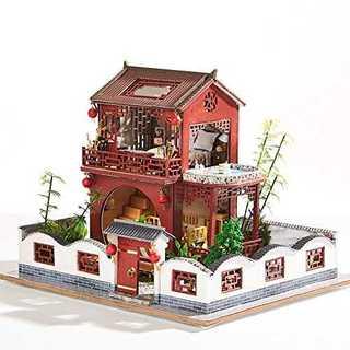 Hfalu ドールハウス ミニチュア LED付属 手作りキットセット クリスマス(模型/プラモデル)