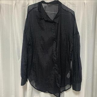 GU - GU シアーボリュームスリーブシャツ ブラック