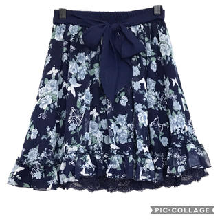 axes femme - 50.青薔薇蝶々プリントフリルスカート