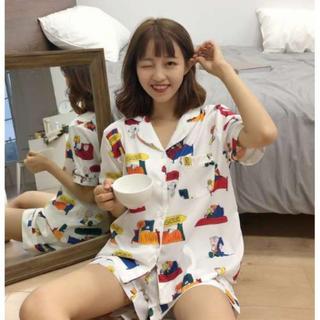 ★白XL♡新品♡ 即売れ パジャマ♪ レディース 半袖 短パン 部屋着