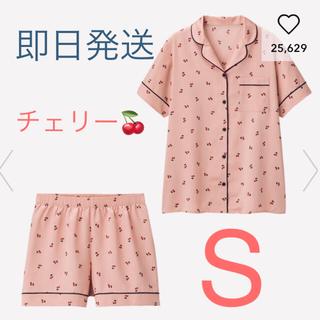 GU - 新品★GU  サテンパジャマ  半袖&ショートパンツ  チェリー  ピンク S