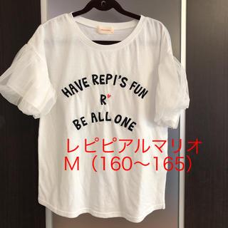 レピピアルマリオ(repipi armario)のレピピアルマリオ  白Tシャツ  袖レース   M(160~165)(Tシャツ/カットソー)