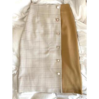 イング(INGNI)のINGNI    美品 タイトスカート キャメル ベージュ チェック(ひざ丈スカート)