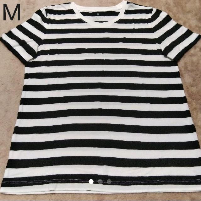 MUJI (無印良品)(ムジルシリョウヒン)の無印良品 オーガニックコットン 白黒 細ボーダー 半袖 Tシャツ 婦人 M レディースのトップス(Tシャツ(半袖/袖なし))の商品写真