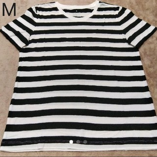 MUJI (無印良品) - 無印良品 オーガニックコットン 白黒 細ボーダー 半袖 Tシャツ 婦人 M