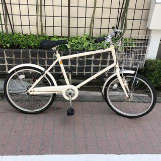 ムジルシリョウヒン(MUJI (無印良品))の無印良品 20型フル装備自転車・ベージュ オートライト・バスケット・後輪錠付き(自転車本体)