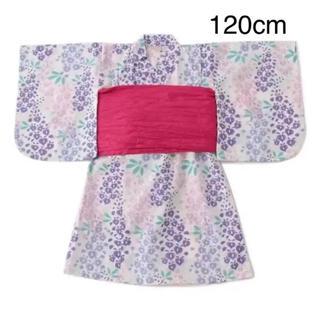 petit main - 新品 プティマイン  藤の花浴衣 120cm