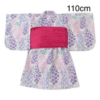 petit main - 新品 プティマイン  藤の花浴衣 110cm