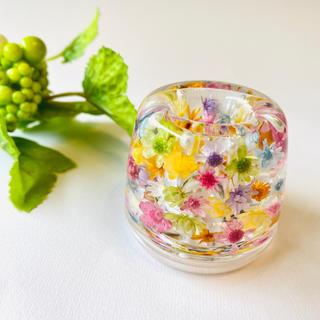 【再販】カラフル☆お花がいっぱい☆固めるハーバリウム ☆ ペン立て(プリザーブドフラワー)
