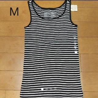 ムジルシリョウヒン(MUJI (無印良品))の未使用 無印良品 オーガニックコットン リブ タンクトップ 婦人 M 黒×白(タンクトップ)