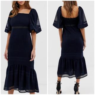 エイソス(asos)の【 UK8】ASOS designパフスリーブドレス(ひざ丈ワンピース)