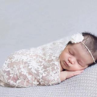 新生児 写真 小道具 ヘッドバンドとスカーフセット ニューボーンフォト