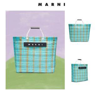 マルニ(Marni)のMARNI MARKET/ストライプバッグ/ペールブルー/グリーン(トートバッグ)