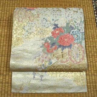 薄いグレー地に金糸と花車 袋帯(着物)