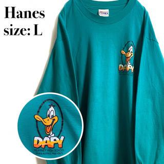 ディズニー(Disney)の海外古着 ヴィンテージ Hanes DAFY グリーン キャラクター キャラT(Tシャツ/カットソー(七分/長袖))