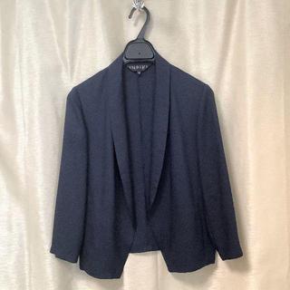 インディヴィ(INDIVI)のインディヴィ◆サイズ36 ボタンレスジャケット七分袖とろみ素材(テーラードジャケット)