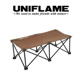 ユニフレーム(UNIFLAME)の【新品】UNIFLAME リラックスベンチ ブラウン×ブラック ユニフレーム (テーブル/チェア)