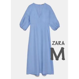 ZARA - 【新品・未使用】ZARA リネン混 ボリューム ワンピース M